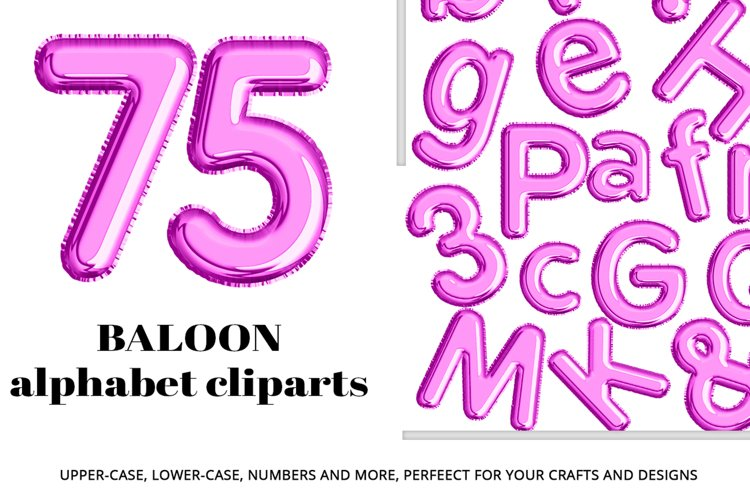 Purple Foil Balloon Letters Numbers & Symbols Clipart example image 1