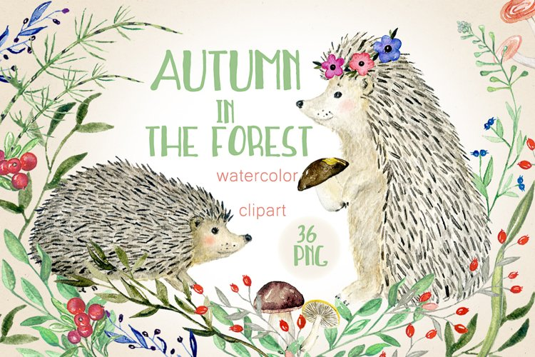 Autumn in the forest. Watercolor clipart. example image 1