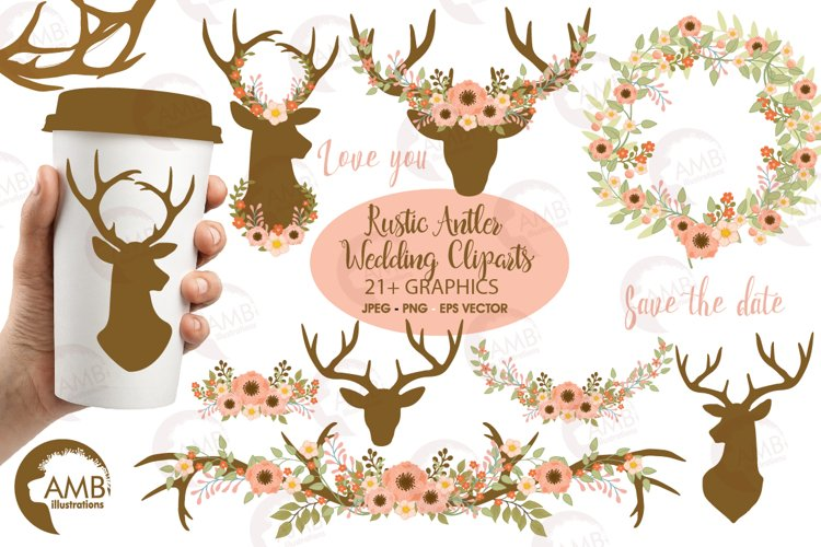 Rustic Antlers and Florals graphics and illustrations example image 1