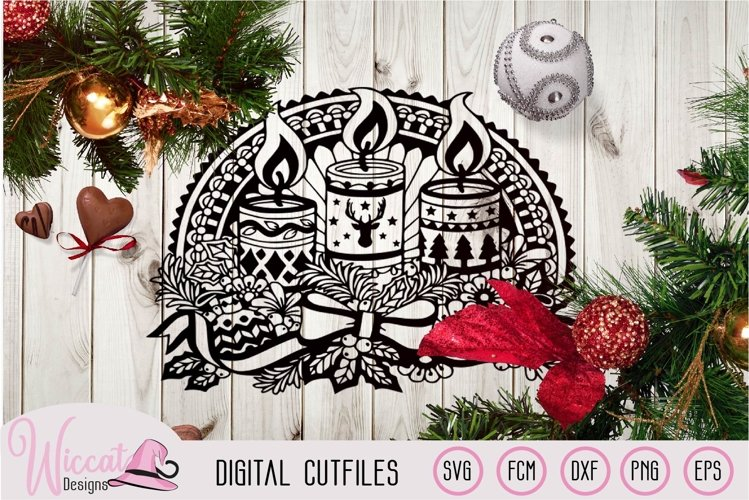 Doodle Christmas candle, Window Ornament design