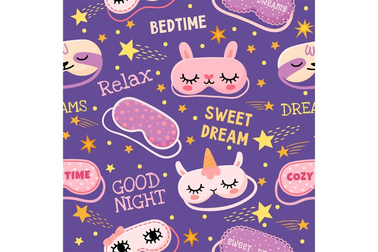 Dream mask seamless pattern. Cute pajama print with masks wi