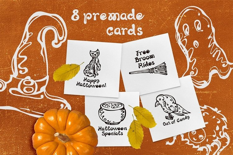 8 Halloween greeting cards| SVG EPS AI JPEG PNG PSD example image 1
