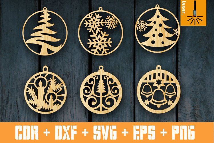 SET of 6 Christmas bauble for Laser cut | Xmas Decor