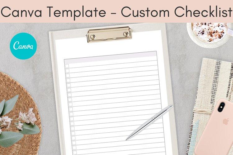 Canva Template, Custom Checklist