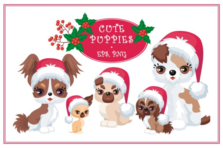 Cute puppies. Christmas mini set