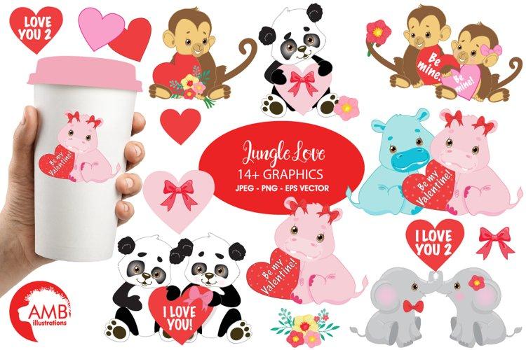 Happy Valentine clipart, Jungle animals clipart, graphics illustrations AMB-596 example image 1