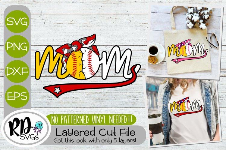 Baseball Softball Mom - A Camo Layered Sports SVG example image 1