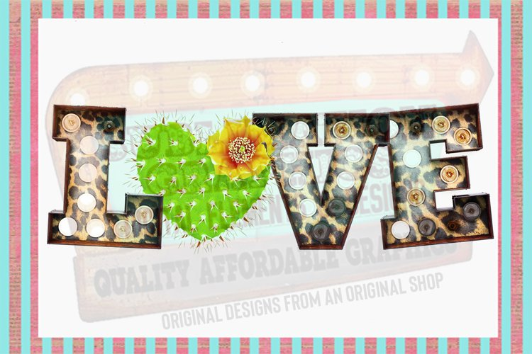 Leopard Marquee Cactus Love Sublimation Digital Download example image 1