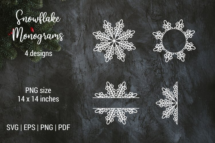 Christmas snowflake split monogram frame | Cut files | SVG