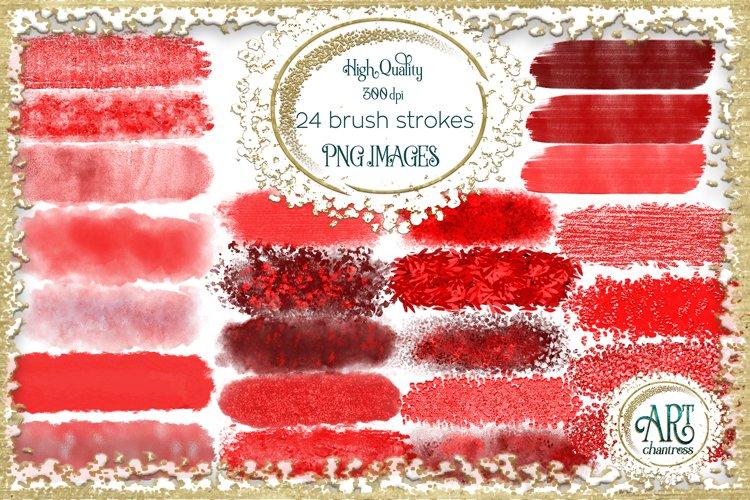 Scarlet Red Splotches Brush Strokes Clipart crimson Glitter