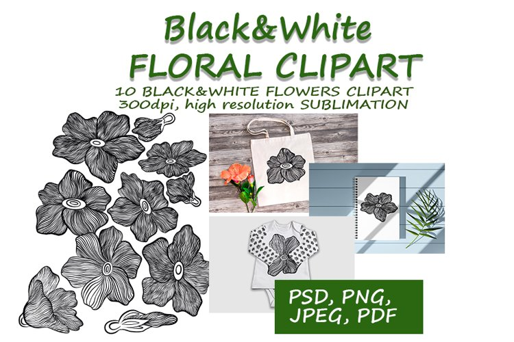 Black&White Flowers Illustration Clipàrt Sublimation