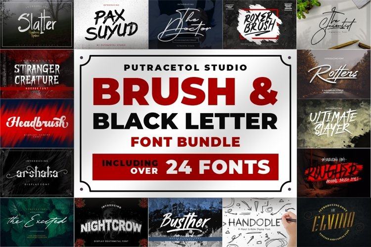 Brush & Black Letter Font Bundles! example image 1