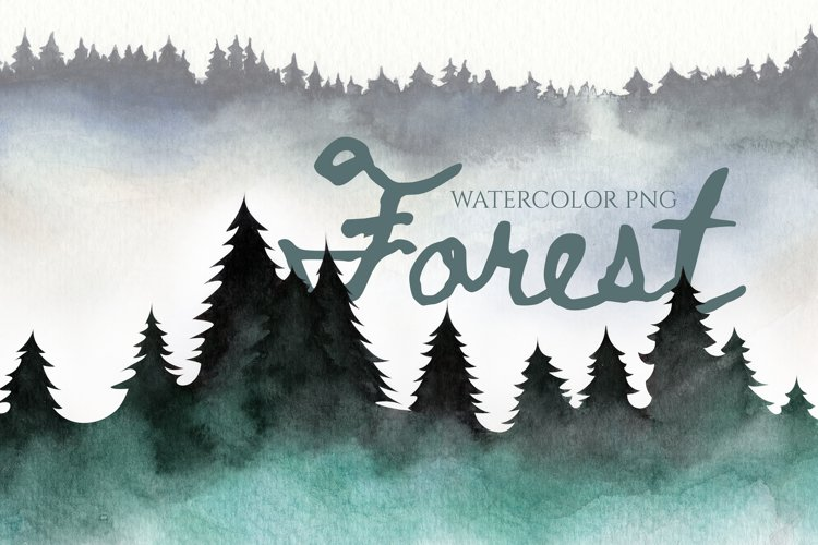 PNG Forest in the fog. Pine trees. mist, smoke in the trees example image 1