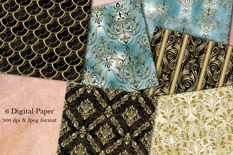 6 Damask Digital Papers, Damask Seamless Patterns. Vintage example image 1
