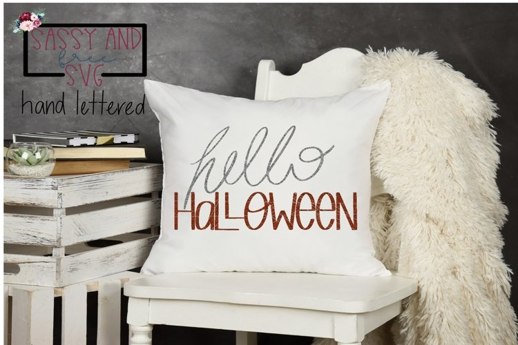 Hello Halloween Hand Lettered SVG example image 1