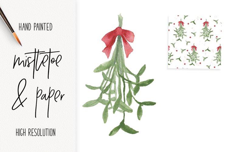 Watercolor Mistletoe clip art and paper Christmas fun!