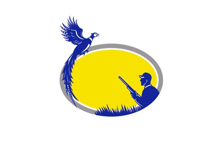 Hunter and Pheasant Bird Oval Retro example image 1