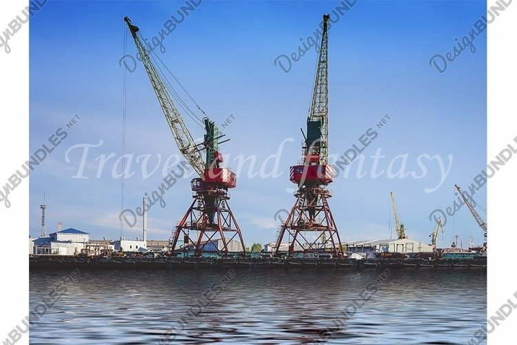 Port of a large Russian city with ships example image 1