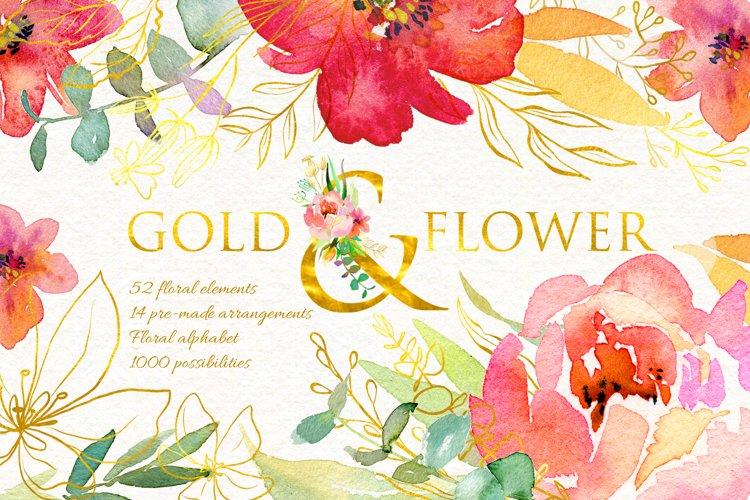 Gold & Flower Watercolor set