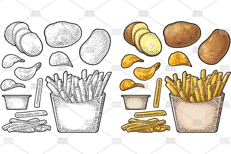 French fry stick potato in paper box and chips engraving example image 1