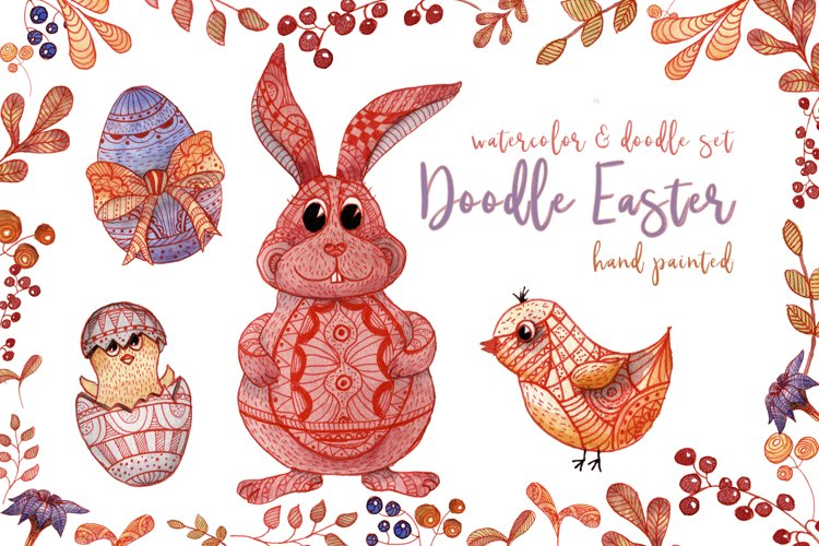 Doodle Easter Watercolor Set Clipart Hand Painted Illustrations Objects example image 1