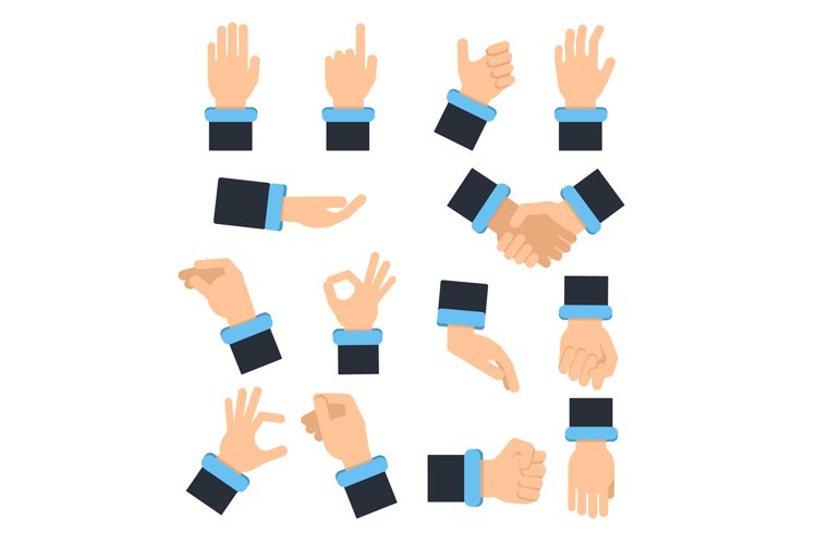 Holding hands in different action poses. Grabbing, taking an example image 1