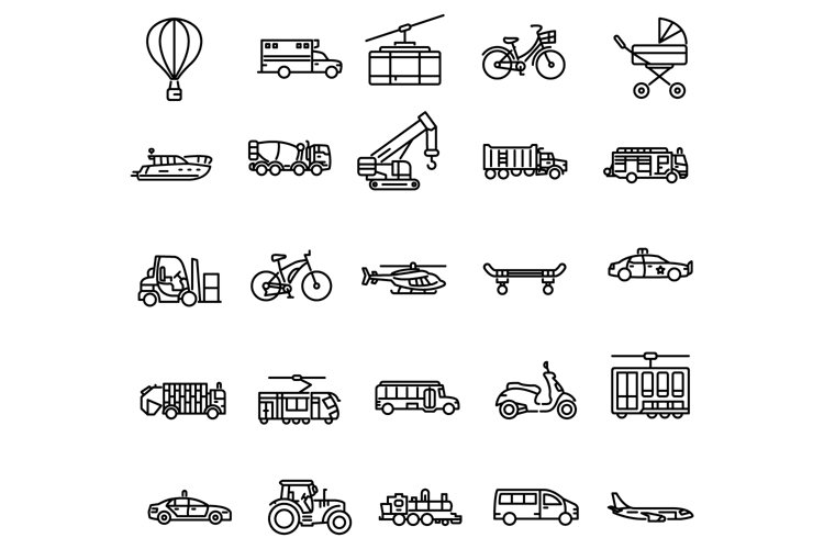Transportation outline icons set example image 1