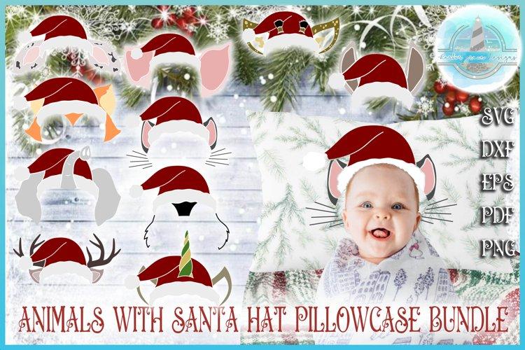 Christmas SVG, Kids Pillowcase Animal Santa Hat Bundle SVG example image 1