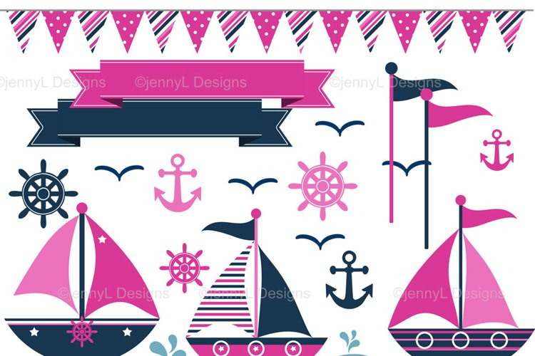 Nautical Sailing Clipart, Sail boat, anchor clipart example image 1