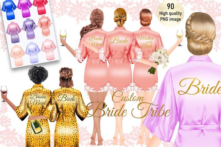 Custom Bride Tribe Wedding Robe Clipart,Bachelorette clipart