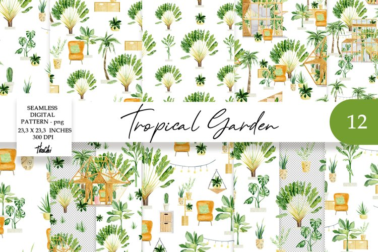 Waterolor Tropical Plants in Pots with greenhouse pattern