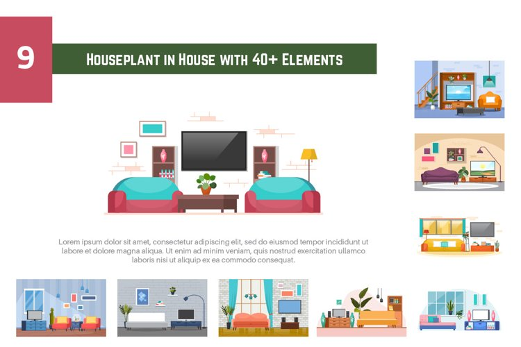 9 Houseplant in House with 40 Elements