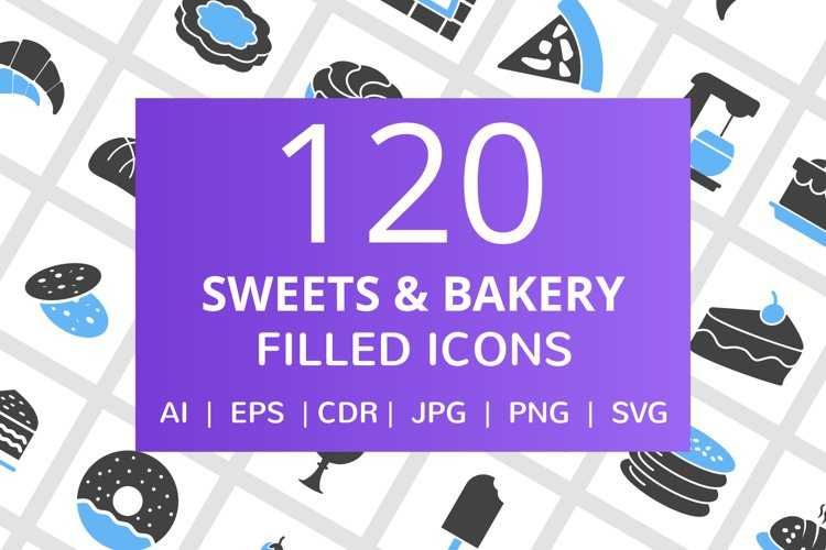 120 Sweets & Bakery Filled Blue & Black Icons example image 1
