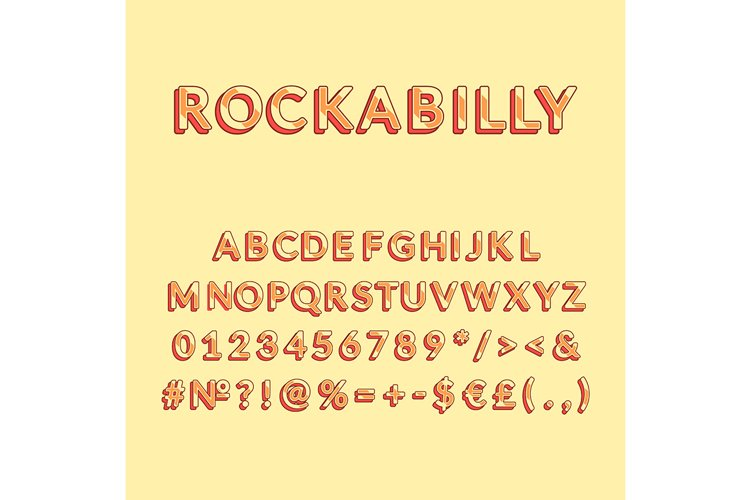 Rockabilly vintage 3d vector alphabet set