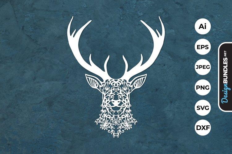 Floral Deer Head Papercut example image 1