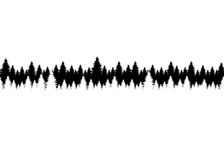 Coniferous forest black silhouette seamless border