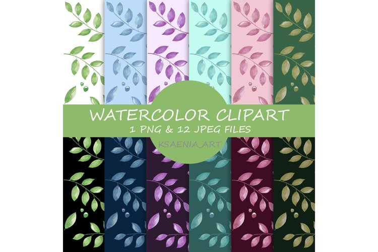 Spring seamless watercolor pattern. Branches with leaves example image 1