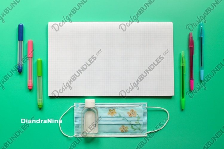 Back to school and protection against COVID-19 flat lay example image 1