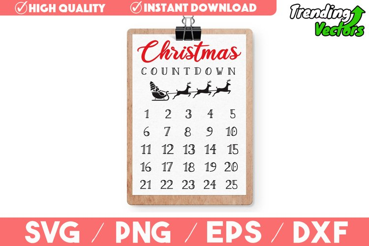 Christmas Countdown Advent Calendar SVG