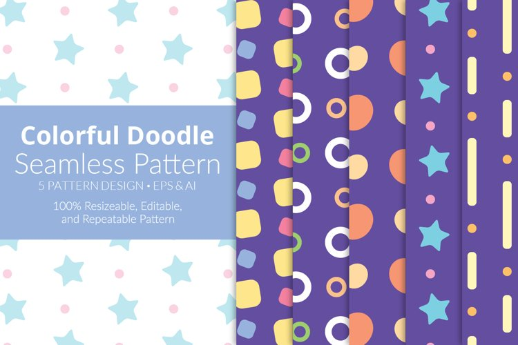 Colorful Doodle Seamless Pattern Pack example image 1