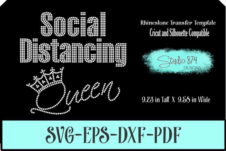 Social Distancing Queen Rhinestone Template Digital Download example image 1