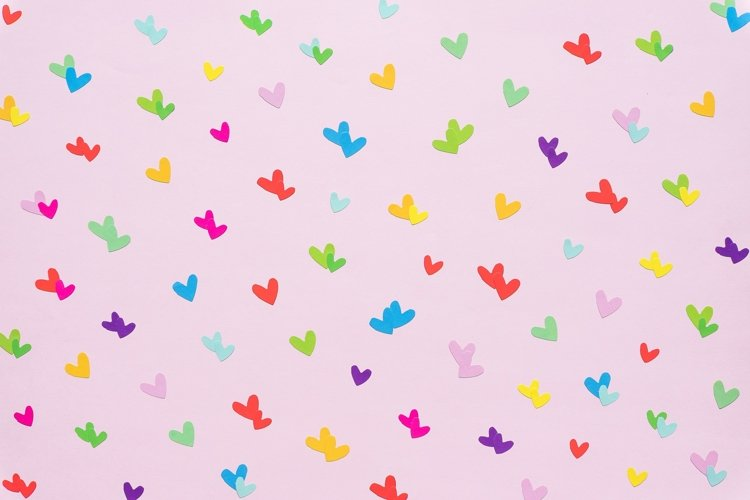 colorful paper heart shape on pink background example image 1