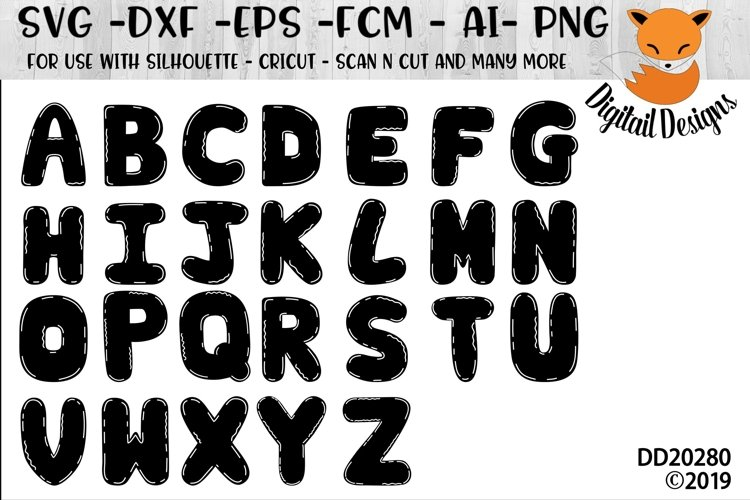 Blank Doodle Letters Alphabet SVG set.