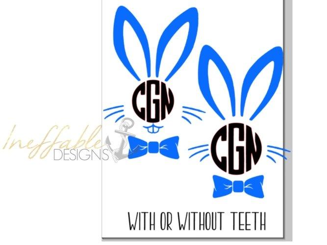 Boys Bunny Monogram Easter Monogram example image 1