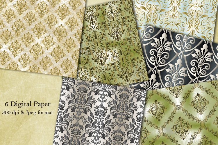 6 Seamless Damask Digital Papers. Collection of papers example image 1