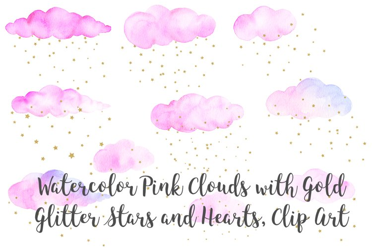 Watercolor Pink Clouds with Gold Stars and Hearts Clip Art example image 1