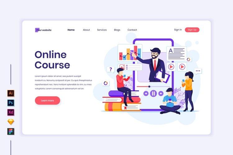 Online Course concept flat Illustration landing page
