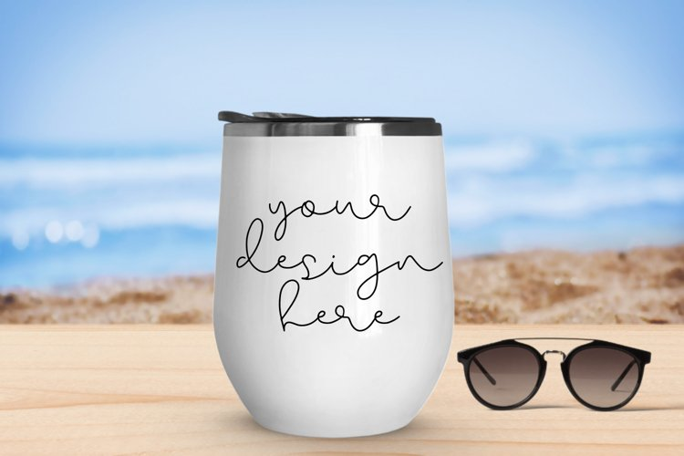 White Tumbler Mock Up With Beach Background - 1080x720px