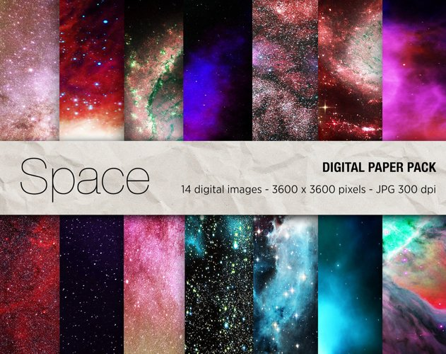 Space Digital Paper, Galaxy Background, Nebula Textures example image 1
