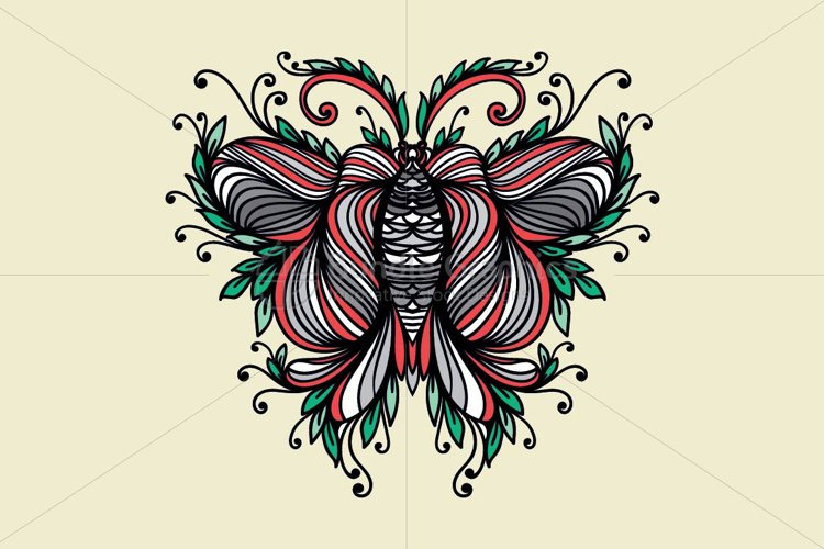 Symmetrical Linear Ornamental Style Butterfly example image 1